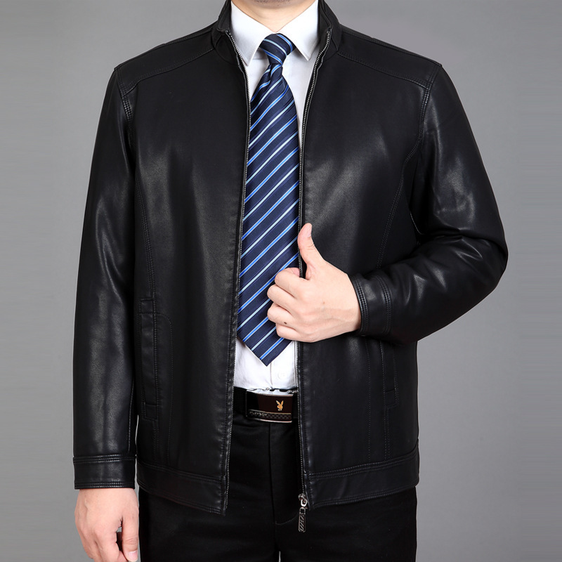New Mens Winter Jacket Collar Thick Warm Elderly Men With Male Cashmere Leather Coat Black  Men Leather Jacket