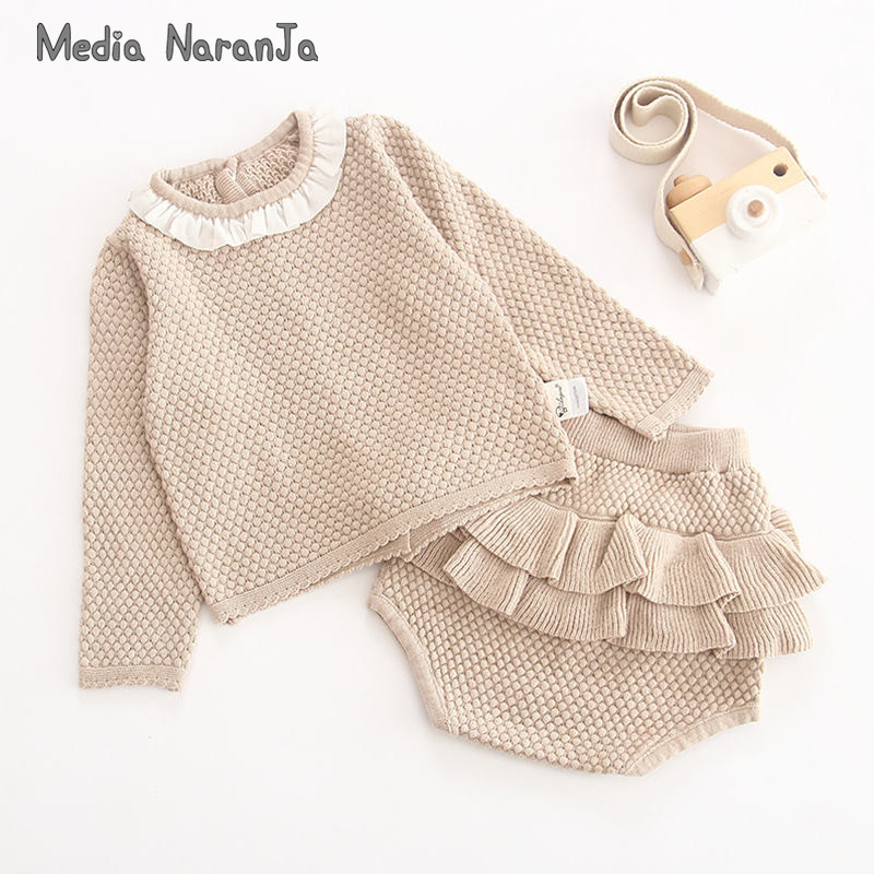 Child Clothes Set 2pcs Ladies sweater Swimsuit Knitted 0-2 Yr Cotton toddler toddler Lengthy Sleeve Shirt + Lotus Leaf Shorts Clothes Units, Low-cost Clothes Units, Child Clothes Set 2pcs...
