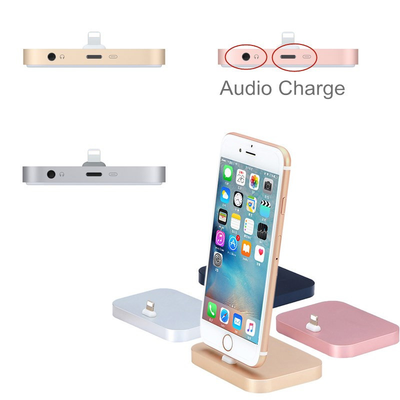 size 40 f18d9 7d853 US $15.99 |Aluminum Audio Charger Lightning Dock for Apple iPhone 7 7 plus  Desktop charging phone holder stand for iPhone 6 6s 5-in Mobile Phone ...