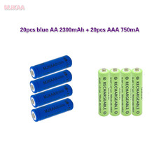 20 pcs AA 2300mAh Ni-MH Rechargeable Batteries + 20 pcs AAA 750mAh Rechargeable Batteries MJKAA panasonic 1 2v 1900mah ni mh rechargeable aa batteries white blue 4 pcs