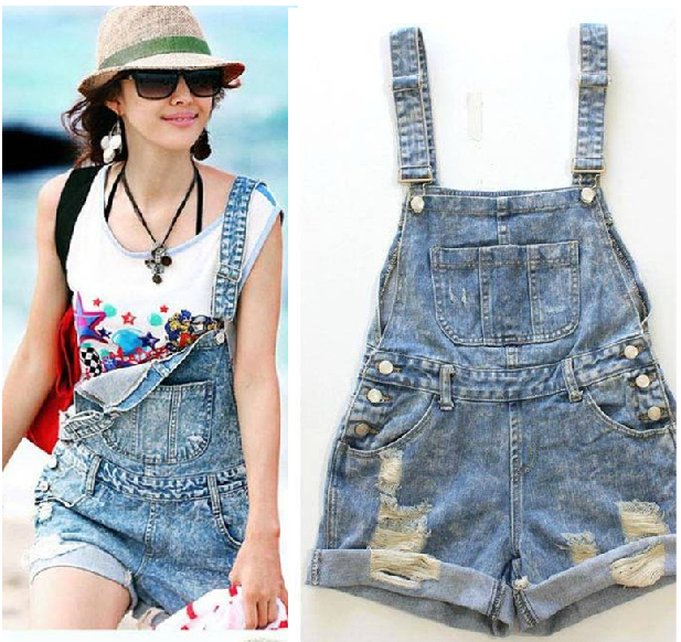7b176c97244 New Women s Distressed Blue Jeans Shorts Denim Jeans Jumpsuit Dungarees  Overalls ripped SHORTS S M L LQ8009