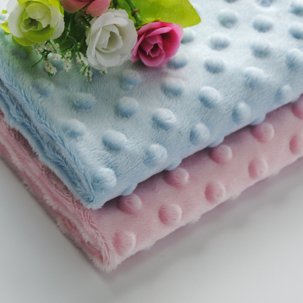 Free Shipping hot selling Soft Minky Dot Fabric Sold By Meter Popular Used As <font><b>Baby</b></font> <font><b>Blanket</b></font> <font><b>Baby</b></font> Bibs <font><b>Baby</b></font> Stroller