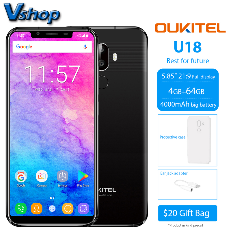 OUKITEL U18 4 GB + 64 GB Smartphone 1080 P 5.85 inch 4G Mobile Phones Android 7.0