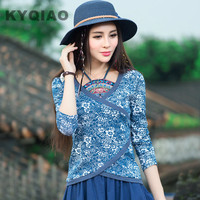 Women Blouses 2016 Blusas Y Camisas Mujer Plus Size Traditional Chinese Clothing Vintage ETHNIC Bellyband Print