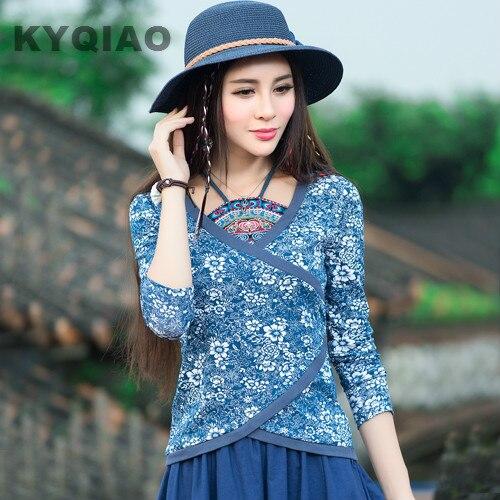 Kyqiao Для женщин блузки blusas Y Camisas Mujer Большие размеры традиционная китайская одежда старинные этнические подпруга печати блузка рубашка