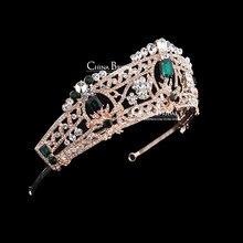 Горный хрусталь корона лента для волос старинные кристалл люкс тиара свадебные аксессуары женщины ну вечеринку театрализованное ювелирные изделия посеребренные