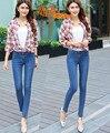 Novo 2015 do sexo feminino mulheres moda calças compridas das mulheres plus size calças elásticas de jeans mulher lápis jeans slim cor azul