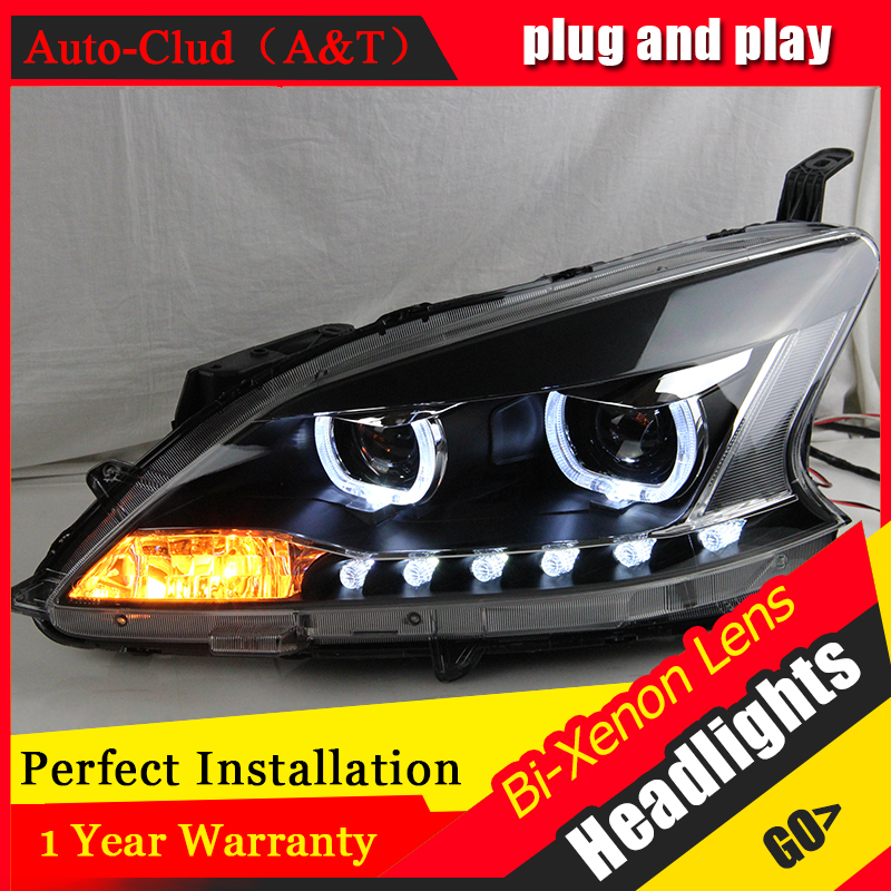 Auto Clud Car Styling Head Lamp for Nissan Sylphy Headlights 2012-2015 LED Headlight DRL Bi Xenon Lens High Low Beam Parking Fog akd car styling for ford focus headlights 2009 2011 focus 2 led headlight drl bi xenon lens high low beam parking fog lamp
