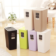 цены на 8L Plastic Trash Can Pressing Cover Trash Bin Home Kitchen Office Waste Bin Sitting Room Toilet Trash Paper Basket Organizer  в интернет-магазинах