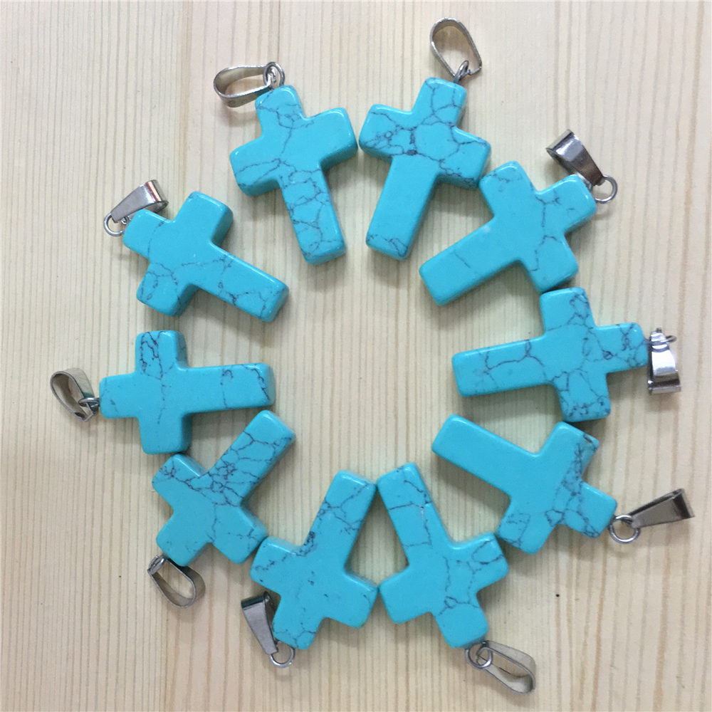 Good Quality Natural Stone Cross Pendants Charms Blue Turquoises Wholesale Lots 2018 New 100pcs For Fashion