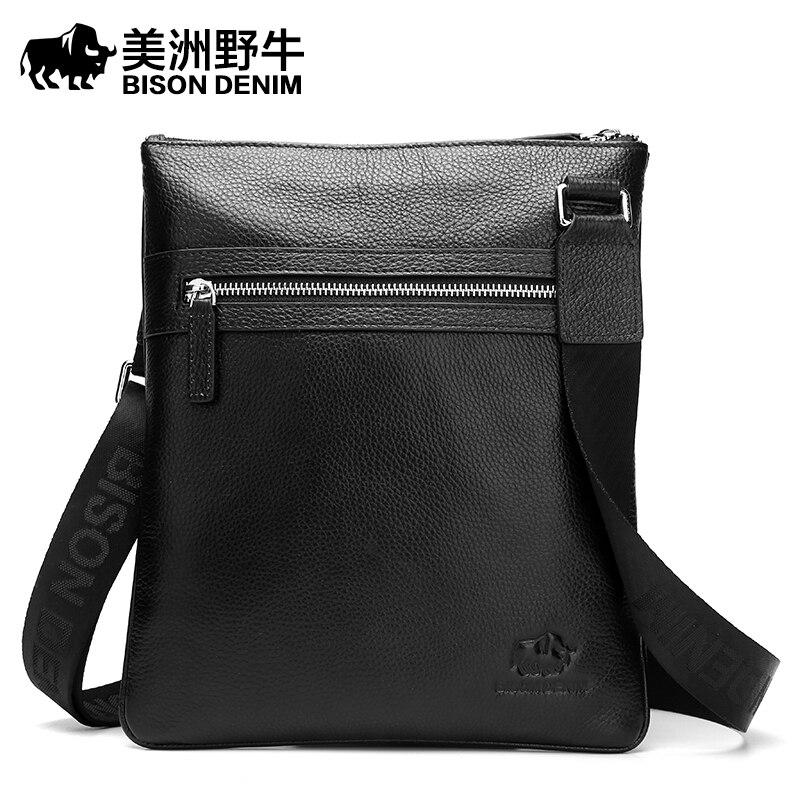 BISON DENIM Men Shoulder Bags Brand Handbag Briefcases Genuine Leather Crossbody Bag Men