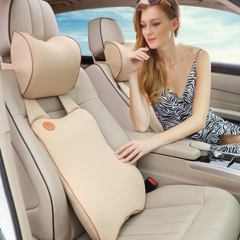 Mise à niveau de la taille de la voiture costume soutien du dos coussin siège de voiture appui-tête oreiller et voiture soutien lombaire oreiller voyage Auto repose-tête