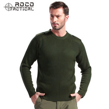 Mens Knitted Military Sweater 100% Merino Wool Commando Sweater SWAT Army Military Tactical Thermal Wool Underwear Army Green
