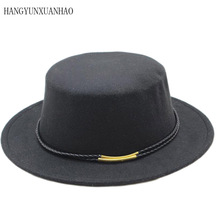 цены Classic Solid Color Felt Fedoras Hat for Men Women Wool Blend Jazz Cap Wide Brim Simple Church Derby Flat Top Hat Trilby Fedora