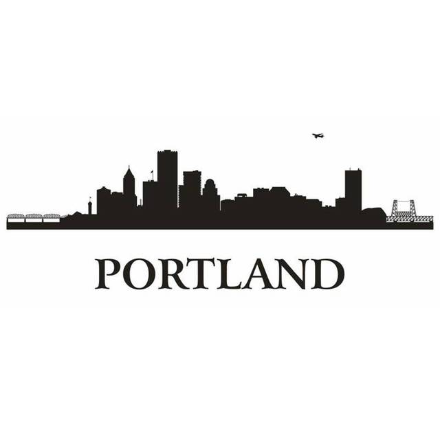 Portland city decal landmark skyline wall stickers sketch decals poster parede home decor sticker