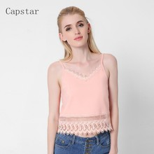 2017 New Summer Women Lace Crop Tops Sexy Camis Sexy Hollow Out Causal Tops Camisole