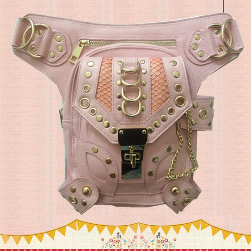 Halloween Gift Steampunk Vintage Pink Bag Burning Man Steam Punk Retro Rock Gothic Waist Pack  Women Thigh Chain Leg Bag Suit