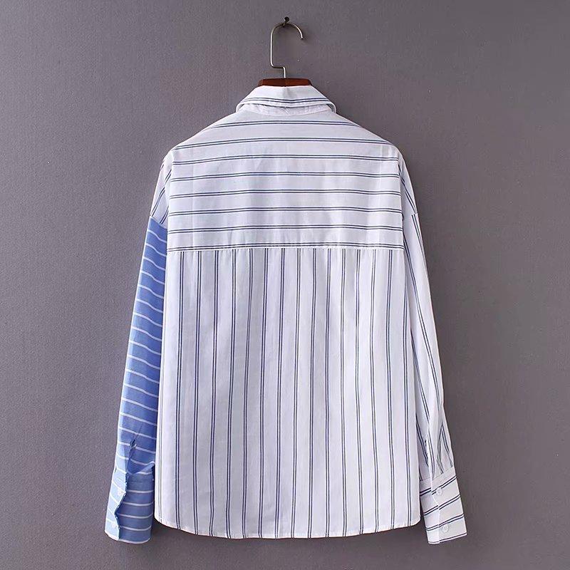 Camisa Mediados Verano Longitud De Sueltan Azul Rayas Nuevo 2018 Mujeres Largo nAzxw1df