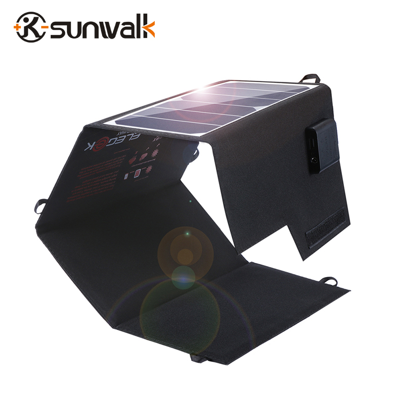 ELEGEEK 5V 2A 26W Solar Panel Charger Dual Ports Foldable Waterproof 12V Solar Chargers Solar Battery Charger for Kiking elegeek 20w solar panel charger portable foldable dual usb waterproof 2a solar panel battery charger power bank for phone