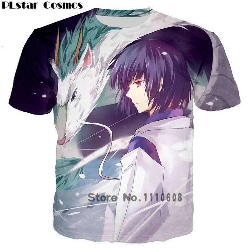 PLstar Cosmos Anime Spirited Away Dragon 3D Printed Boy T-shirt Leisure Hip hop tshirt Women Men o-neck t shirt clothes harajuku