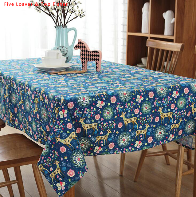 Free Shipping Christmas New Color Elk Square Tablecloths Cotton Linen Tablecloth Rectangular Table Cloth Solid Cover