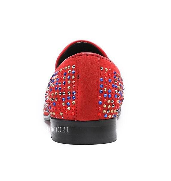 Sapatos Luxo Pic Vestido Flats Cravejado Vermelho Fumadores Casuais Couro Cristal Mens Metal Marca as Pic Homens Lábios Genuíno De Mocassins As tA7q4xwO