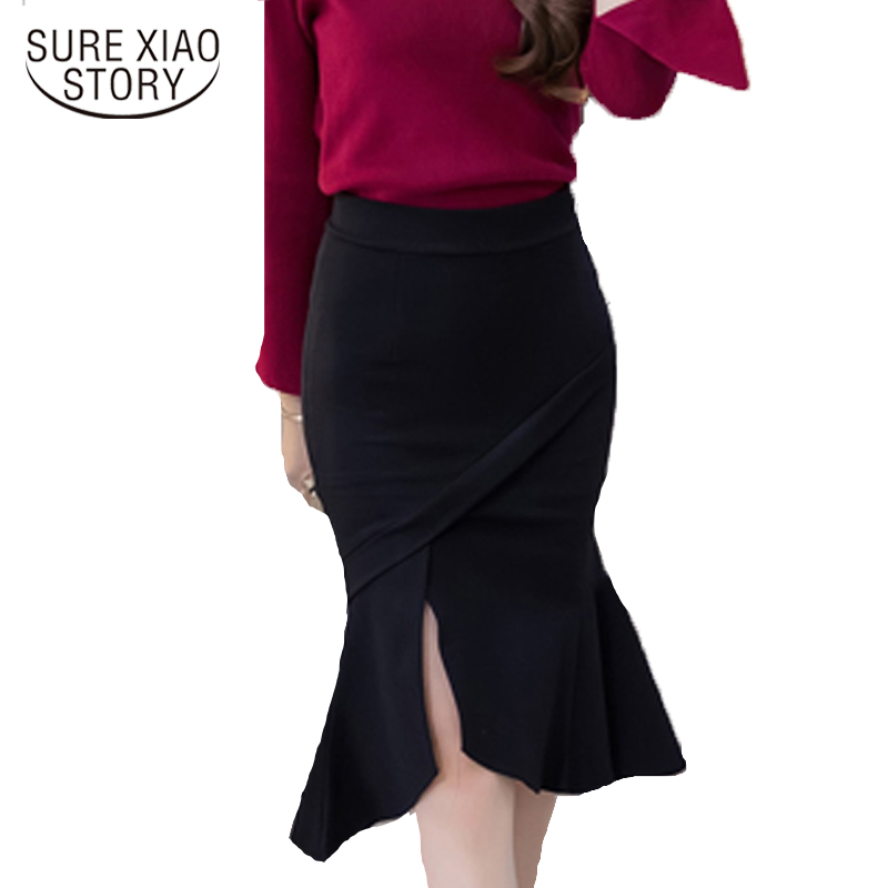 2019 New Fashion Elegant Women Skirts Office Lady Style Skirts Solid Slim Plus Size S-5XL Female Causal Sexy Skirts D113 30