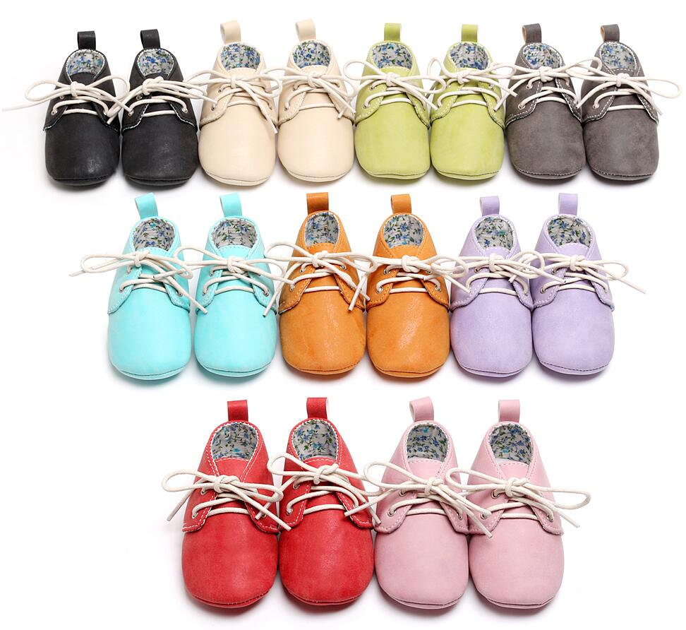 HONGTEYA Toddler Baby Moccasins Soft Pu Leather Casual Boot First Walker Lace Up Shoes Baby Oxford Shoes Sneakers