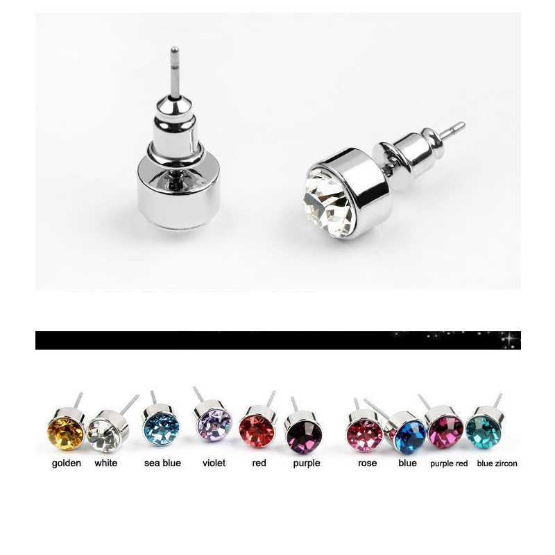 Klasyczny okrągły wkręt kolczyki z kryształy Swarovskiego moda Rhinestone biżuteria dla kobiet dziewczyna żona prezent 5.5mm