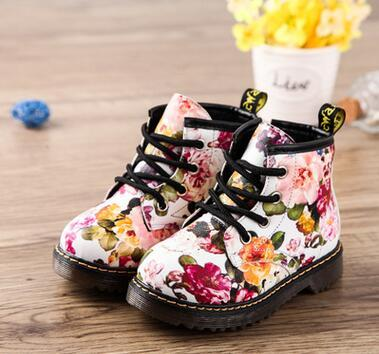 2017 Fashion Floral Printing For Girls Boots Rubber soled Boots Cute Martin Boots Baby Boots Comfy Kids Leather Casual Shoes