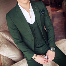 2017 Green Tuxedo Jackets Mens Suits Slim Fit 3 Piece Sets White Stylish Designer Prom Suits Grey Costume Homme Mariage Smocking