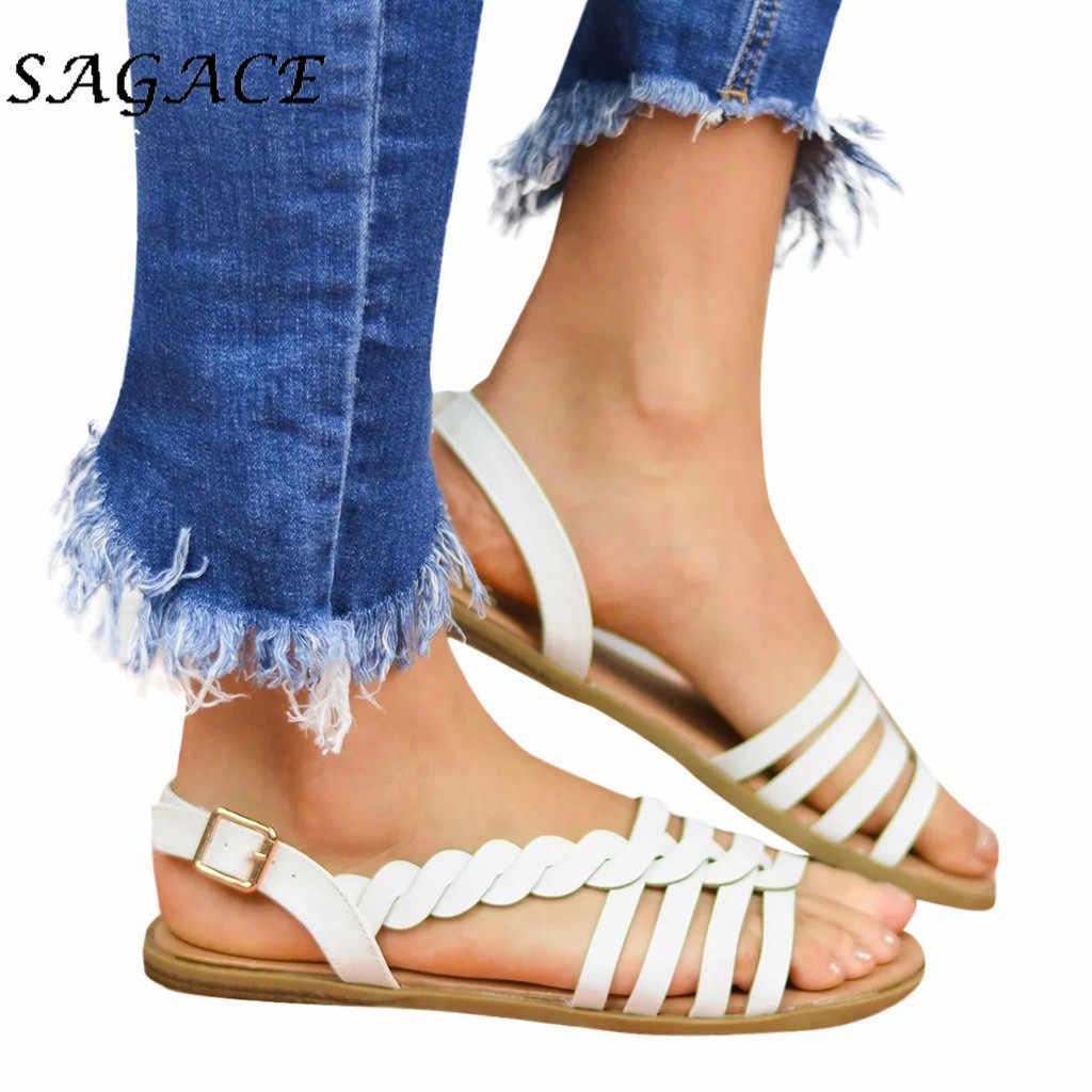 SAGACE ayakkabı kadın toka kayış düz topuk sandalet büyük boy kauçuk plaj sandaletleri 2019 yaz bayanlar düz sandalet rahat ayakkabılar
