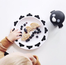 New Arrival  Food Grade Melamine Clock Cloud Tringles Fashion Kids Baby Tablewear Plate Dishes Baby Dish Set Food Container