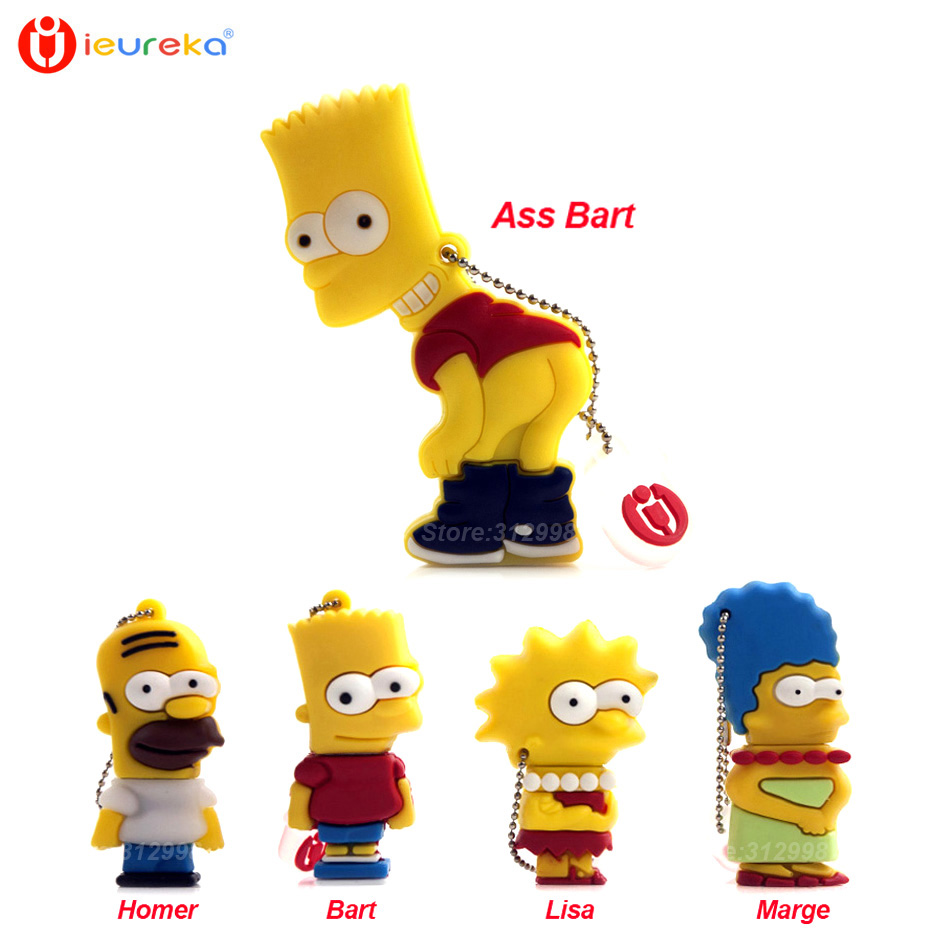 Ieureka usb 8 gb kartun simpson homer bart usb flash drive pen drive 8 gb 16 gb 32 gb 64 gb usb 2 0 memory stick usb stick flashdisk di usb flash drives