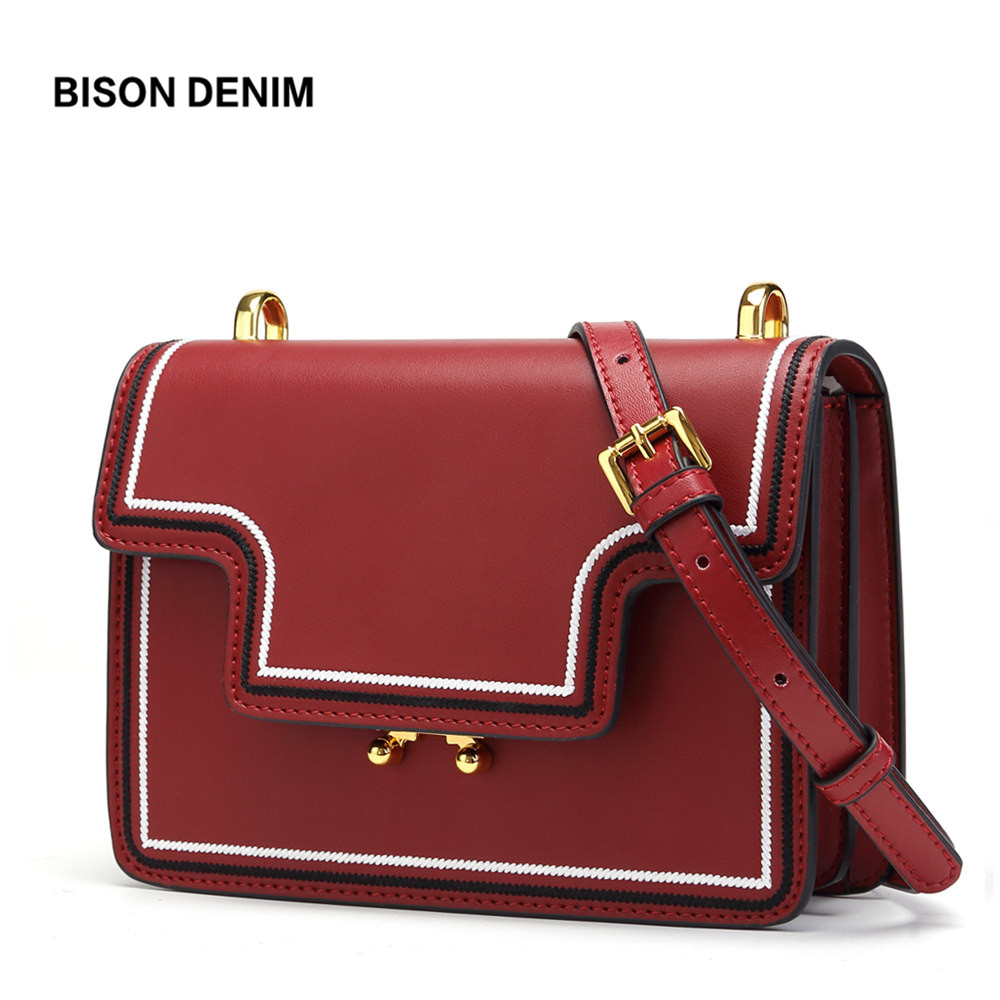 BISON DENIM Cow Leather Women bags for women 2018 Luxury Shoulder Bag Female Genuine Leather Crossbody Bag bolsa feminina N1557 bison denim brand women bags genuine leather shoulder bag female for women 2018 luxury crossbody bag bolsa feminina n1560