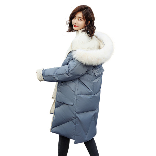 2018 Winter Fashion Hooded Long Solid Color Fur Collar Detachable Cotton Coat