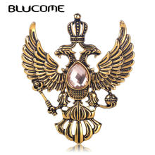 Blucome Retro Russian National Emblem Brooches Antique Gold Color Crystal Badge Lapel Pin Women Men Clothes Suit Jewelry Clips(China)