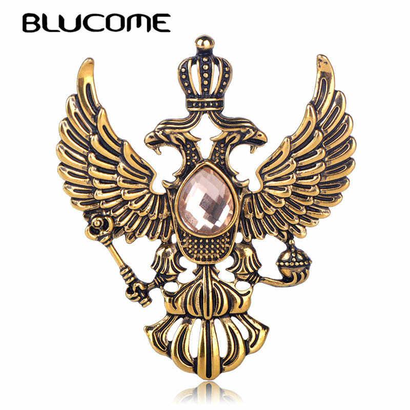 Blucome Retro Russian National Emblem Spille D'antiquariato di Colore Oro di Cristallo Distintivo Risvolto Spille Degli Uomini Delle Donne Copre il Vestito di Gioielli Pinze