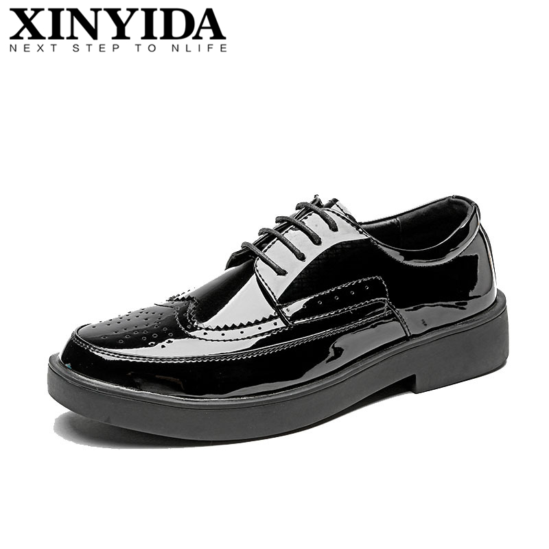 New Arrivals British Fashion Pointed Toe Men Leather Shoes Lace-Up Breathable Patent Black Brogue Shoes Men Hairstylist Shoes men s brogue shoes fashion brown pointed toe leather shoes breathable lace up men casual shoes moccasins size 38 43 8205m
