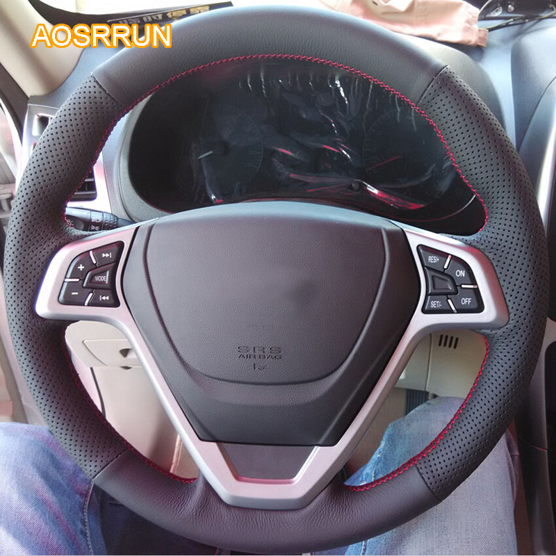 AOSRRUN genuine leather car steering wheel cover Car accessories For Chery tiggo 3 2010-2014