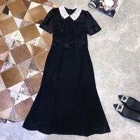 Женское винтажное шелковое платье высокого качества модное пляжное платье 2019 Новое Женское летнее ТРАПЕЦИЕВИДНОЕ черное платье
