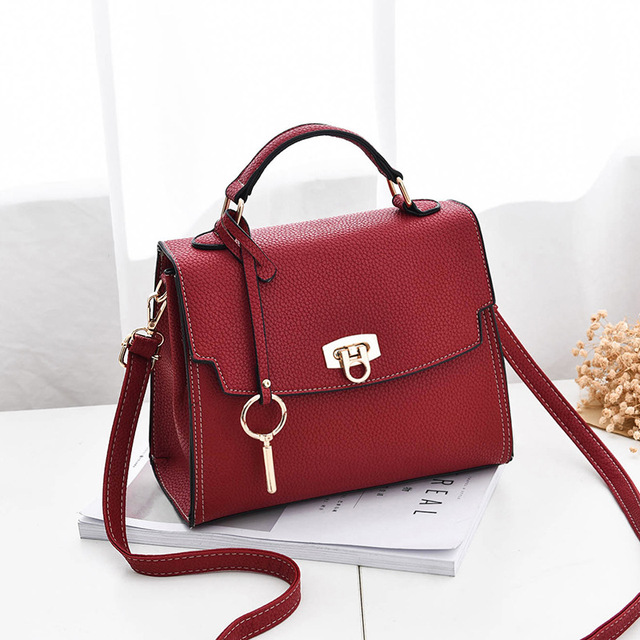 da71410836b MONNET CAUTHY Female Totes Concise Chic Style Fashion Office Lady Handbags  Solid Color Wine Red Army