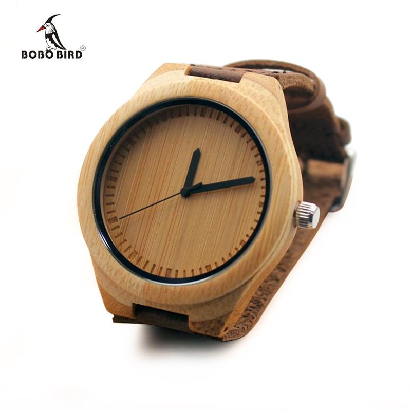 21a9516a93b BOBO PÁSSARO de Bambu Natural de Madeira Relógio de Pulso para Homens Com  Couro Genuíno Couro Strap Relógios de Quartzo Presentes Ideais C-A35