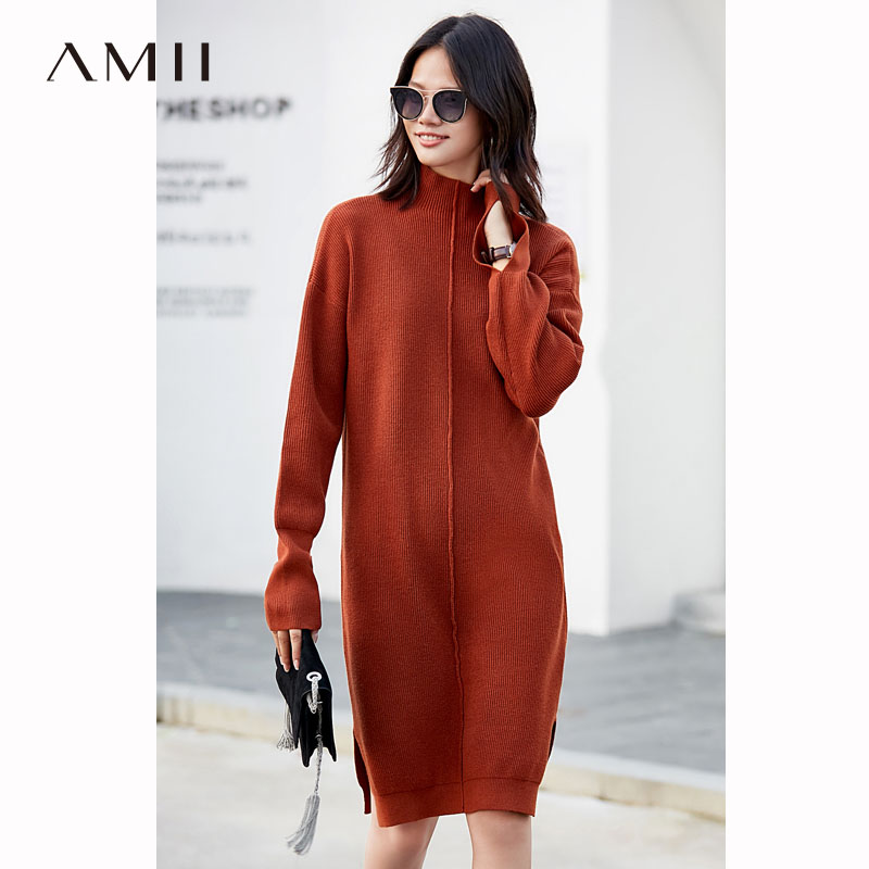 Amii minimaliste col roulé pull robe femmes hiver automne 2018 élégant solide côté fente à manches longues droite tricoté robes