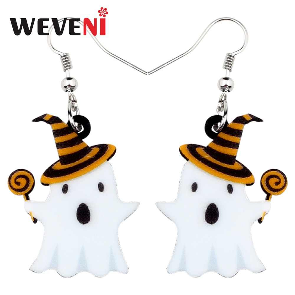 WEVENI Acrylic 2018 Halloween Lollipop Ghost Earrings Drop Dangle New New Trendy Festival Jewelry For Women Girls Teen Kid Gift
