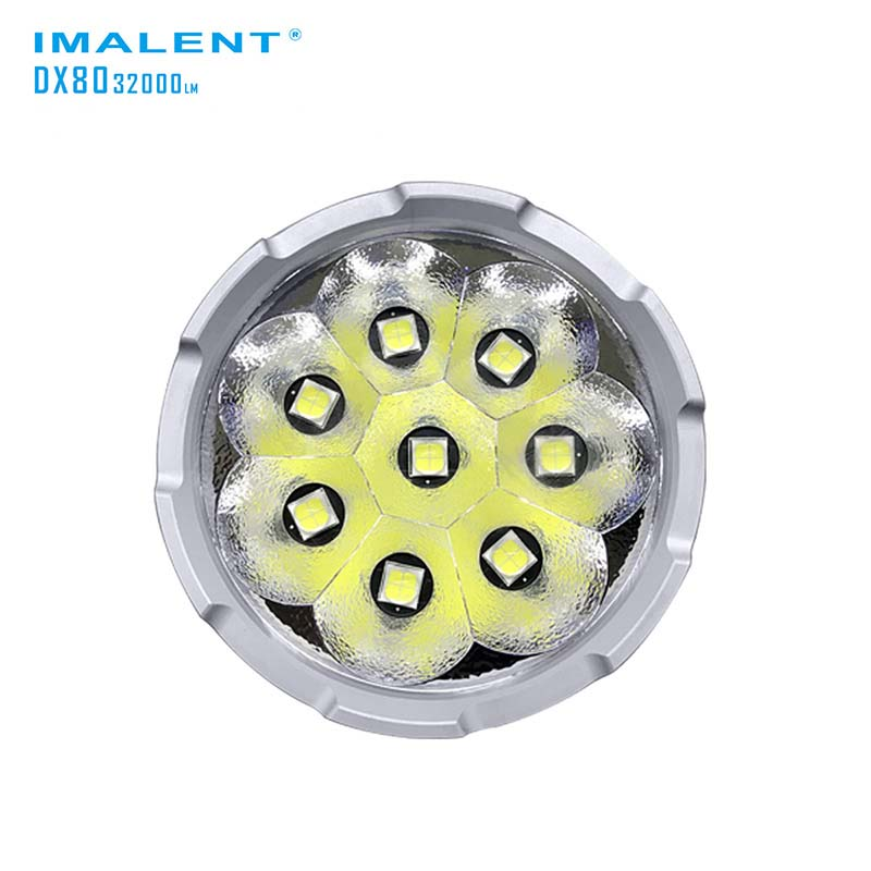 IMALENT DX80 8xCREE XHP70 32000 Lumens High Performance Outdoor Search Light Direct Recharge LED Flashlight (