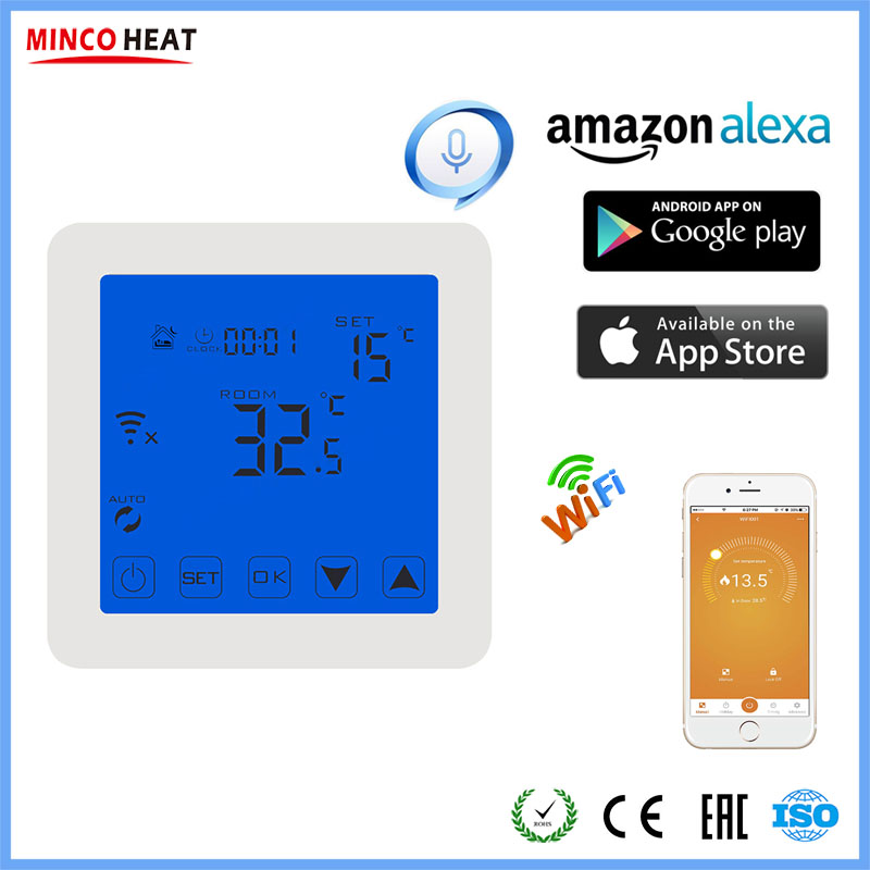 LCD Display Programmable Wireless Room Wifi Thermostat Energy Saving Underfloor Temperature Controller Warm Floor