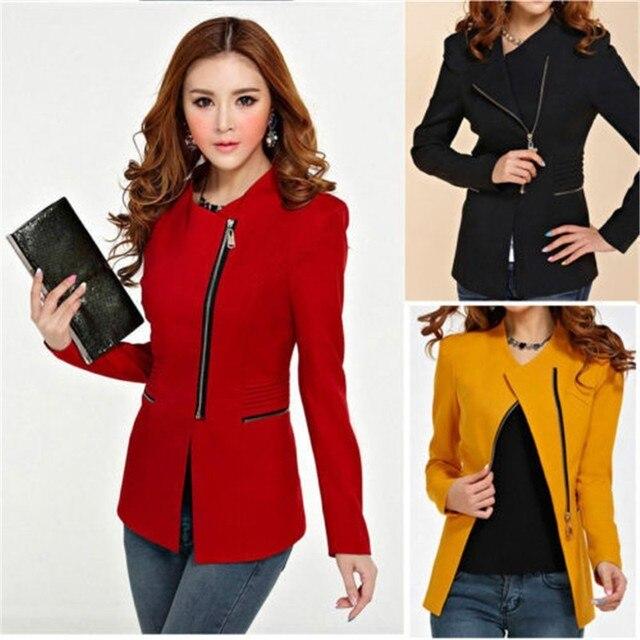 2016 Весна Новая Мода Тонкий С Длинным Рукавом Офис Едином Стиле Женщины Куртка Белый Черный Красный Желтый Пальто Плюс Размер