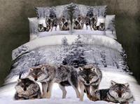 Волк Медведь Тигр хлопок 3D животных постельных принадлежностей Прохладный 100% хлопок печать масло постельное белье простыня наволочка Queen