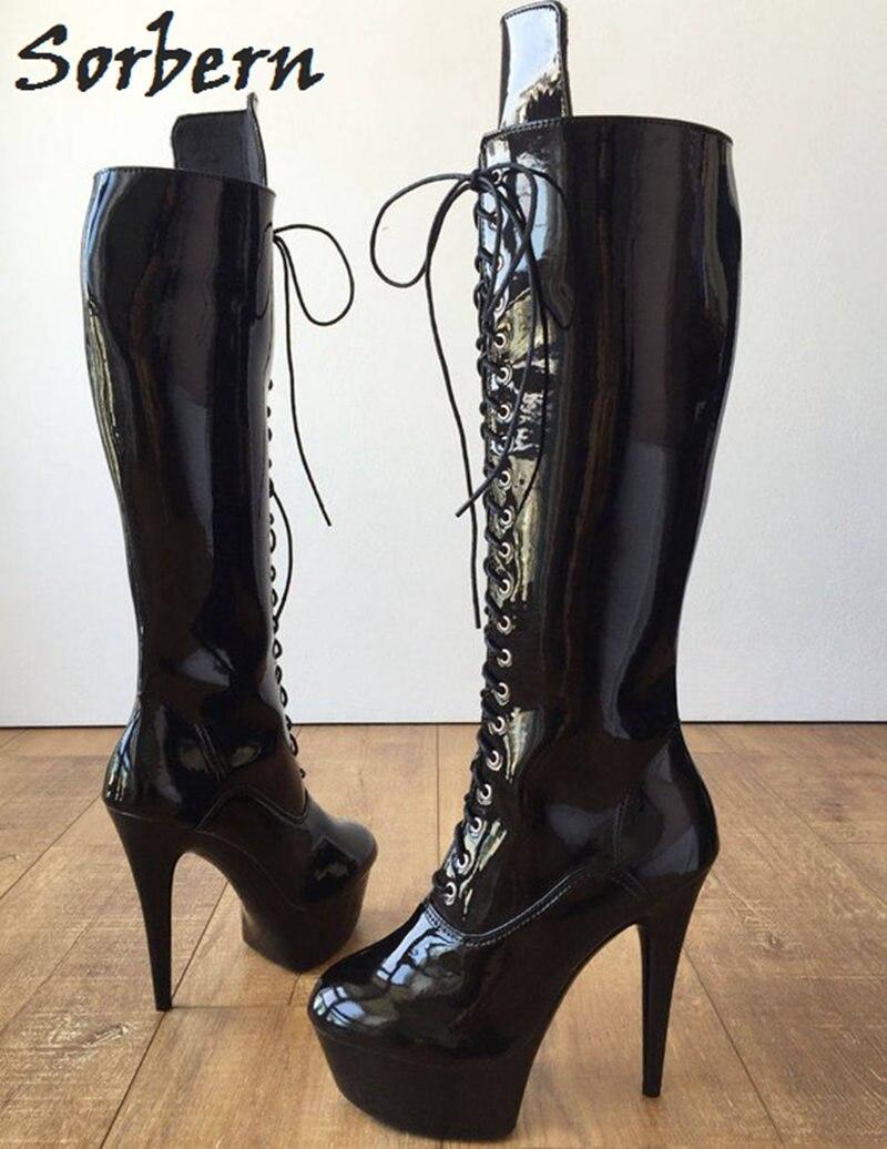 mehrfach Ferse Spitze Kniehohe Heels Cm High Schwarzes Booties Schuhe Sorbern 15 Stiefel Goth Mode Frauen Punk Plattform Herbst Bis Bling qxFBHp0